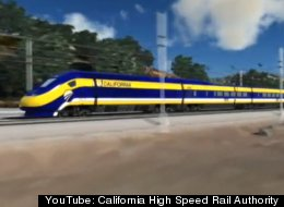 An artists rendering of the proposed California High Speed Rail running along the Caltrain corridor.