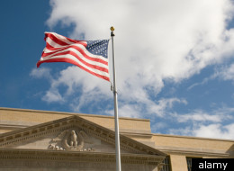 American flag over court house