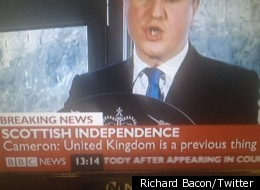 Whoops. BBC caption tells of the end of the United Kingdom