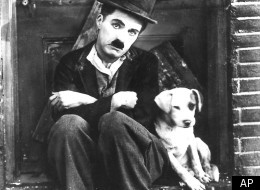 Charlie Chaplin and an unnamed friend in a scene from
