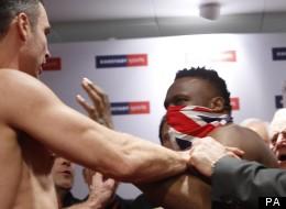 Happy slapper: Dereck Chisora, seemingly unprovoked, lashes out at Vitali Klitschko