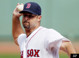 Boston Red Sox's Tim Wakefield pitches in the first inning of a baseball game against the Tampa Bay Rays in Boston, Sunday, Sept. 18, 2011. (AP Photo/Michael Dwyer)