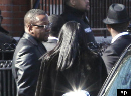 Bobby Brown outside Whitney Houston's funeral