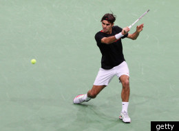 ROTTERDAM, NETHERLANDS - FEBRUARY 19: Roger Federer of Switzerland in action against Juan Martin Del Porto of Argentina in the Final on day 7 of the ABN AMRO World Tennis Tournament on February 19, 2012 in Rotterdam, Netherlands.