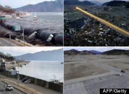 Left top and bottom: The tsunami breeching an embankment and flowing into the city of Miyako in Iwate prefecture, before and after. Right top and bottom: A debris strewn area of Rikuzentakata, Iwate prefecture, before and after