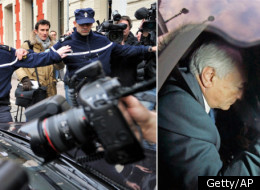 Journalists swarm a car carrying former IMF chief Dominique Strauss-Kahn at the gendarme station, on February 21, 2012 in Lille, northern France, for questioning in connection with a police probe into organized sex parties in restaurants and swingers' clubs in Paris, Washington, Madrid, Vienna and Ghent, Belgium. (PHILIPPE HUGUEN/AFP/Getty Images and AP)