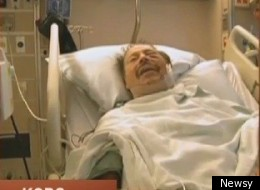 Jay Leone, 90, from his hospital bed days after shooting a home invader.