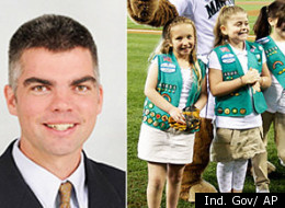 @front, Indiana Rep. Bob Morris (left) believes the Girl Scouts is a