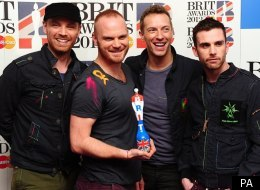 Coldplay with their Best British Band Brit Award
