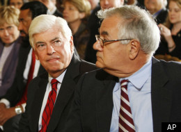 Senate Banking Committee Chairman Christopher Dodd, D-Conn., left, and House Financial Services Committee Chairman Barney Frank, D-Mass. take their seats in the East Room of the White House in Washington, Friday, Oct. 9, 2009, prior to President Barack Obama delivering remarks on regulatory reform. (AP)