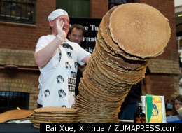 Andy Wrobel believed he had set a new pancake stack record, but Guinness officials say his stack is more than an inch shorter than their current champion.