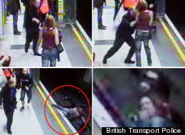 The footage captures the horrifying moment the woman is shoved onto the tracks - including her terrified face as she realises what has happened
