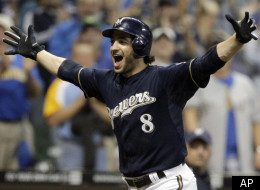 Milwaukee Brewers' Ryan Braun reacts after hitting a game-winning home run during the 11th inning of a baseball game against the Colorado Rockies on Tuesday, Sept. 13, 2011, in Milwaukee. The Brewers won 2-1. (AP Photo/Morry Gash)