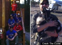 The Curse Crackers (left) are bringing along Wrigley the goat (right) for a hike from Mesa, Ariz., to Wrigley Field. The hike is raising funds for cancer research.