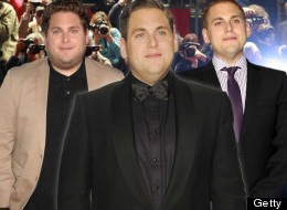 Up and down: Jonah Hill in his plump funny man days (left), after his dramatic weight loss (right) and at the Oscars (centre)
