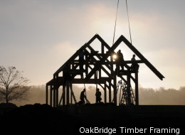 House party: The OakBridge team raises the frame on a new home.