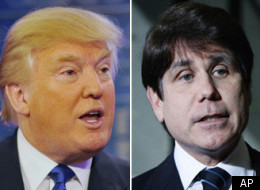 Donald Trump (left) believes that 14 years is too long for Rod Blagojevich to spend in prison.