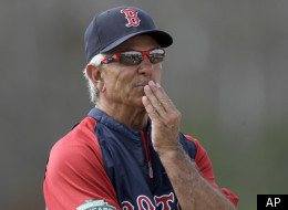 Boston Red Sox manager Bobby Valentine watches over a baseball spring training workout Tuesday, Feb. 28, 2012, in Fort Myers, Fla. (AP Photo/David Goldman)