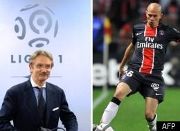 Frédéric Thiriez, président de la Ligue, et Christophe Jallet, joueur du PSG.