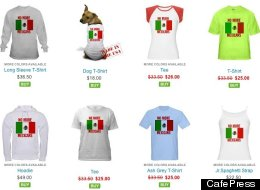 A screenshot, taken at time of publication, of merchandise that features 'Anti-Mexican' remarks on CafePress.