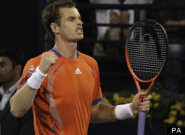 Andy Murray celebrates his 6-2 7-5 win over Novak Djokovic