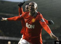 Ashley Young celebrates goal versus Tottenham.