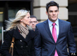 Scotland rugby player Max Evans and his girlfriend Katy Johnson outside Edinburgh Sheriff Court