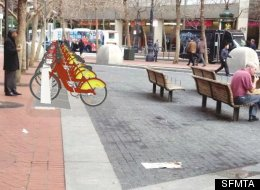 A rendering of what one of the bike sharing stations will look like.