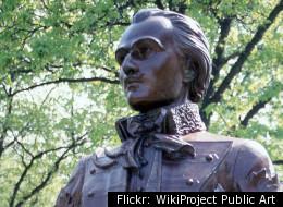 A bronze bust of Casimir Pulaski sits in Pulaski Park, Milwaukee, WI.