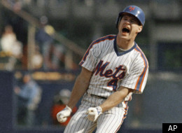 New York Mets centerfielder Len Dykstra yells out a cheer after hitting a double in game five of the National League Championship Series at Shea Stadium in New York, Oct. 11, 1988, where the Los Angeles Dodgers beat the Mets 7-4. (AP Photo/Ron Frehm)