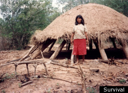 An Ayoreo woman visiting an Ayoreo house that had been abandoned as a result of logging in Paraguay. (Survival)