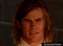 Chris Hemsworth in character as motor racing legend James Hunt