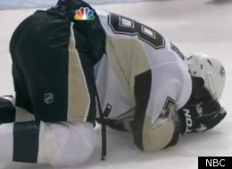 Kris Letang shortly after suffering a blow to the head during an NHL game.