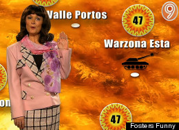 Scorchio! Caroline Aherne as the Channel 9 weather presenter