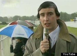 Alan Partridge soldiers on despite the weather during a day at the races