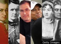 Wolfgang Mozart, Marie Curie, Steve Jobs, Tiger Woods, Jane Austen, Isaac Newton