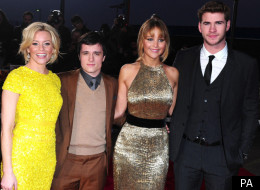 Elizabeth Banks, Josh Hutcherson, Jennifer Lawrence and Liam Hemsworth at European Premiere of 'Hunger Games'