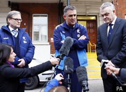 Owen Coyle (centre) alongside Chairman Phil Gartside (right)