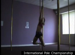 Deborah Roach pole-dances in her International Pole Championship contestant profile video.