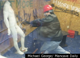 Danny Gallagher attacks a mannequin with a baseball bat at the Anger Room, a Dallas-based business that lets people pay to smash things.