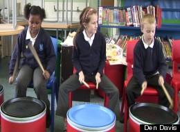 Children at Ride Hill Primary in a Drumskool workshop