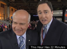 22 Minutes interrupted Peter Mansbridge during his CBC broadcast from the NDP leadership convention in Toronto. (This Hour Has 22 Minutes)