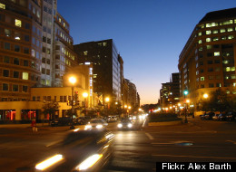 Downtown traffic moves along New York Avenue NW.