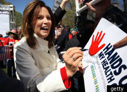 Rep. Michele Bachmann (R-Minn.) and other conservative and Tea Party leaders spoke at a rally today in opposition to President Barack Obama's health care reform law, which the Supreme Court is reviewing this week.