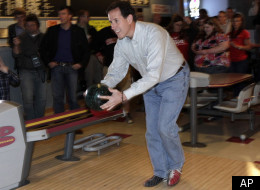Rick Santorum visited a bowling alley in Wisconsin on Wednesday.