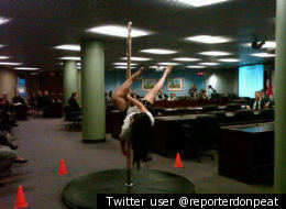 A pole-dancing demonstration got the attention of councillors at Toronto's City Hall on Thursday.