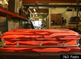 Seattle-based J&D Foods, which specializes in bacon-themed products, has just released a bacon-themed coffin that sells for $2,999.99.