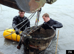 Royal Navy divers deal with a WWII V2 Rocket