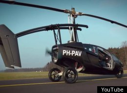 The newly announced PAL-V One runs on three wheels like some kind of car/motorcycle hybrid, but find some open space, pop out the tail, lift the rotors and you've got an instant  helicopter.