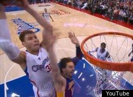 Blake Griffin slams in a putback dunk over Pau Gasol.